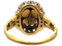 Edwardian 18ct Gold, Natural Pearl & Old Mine Cut Diamond Cluster Ring