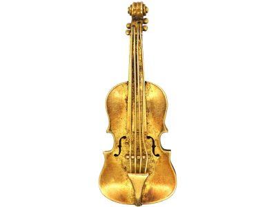 Victorian 15ct Gold Violin Brooch