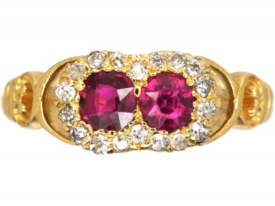 Edwardian 18ct Gold, Ruby and Diamond Conjoined Double Cluster Ring