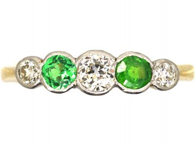 Edwardian 18ct Gold, Rub Over Set Green Garnet & Diamond Five Stone Ring