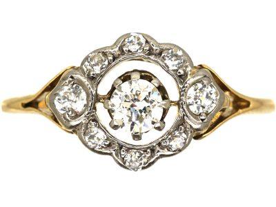 Edwardian 18ct and Platinum, Diamond Openwork Cluster Ring