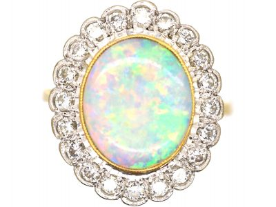 Large 18ct Gold, Opal & Diamond Cluster Ring