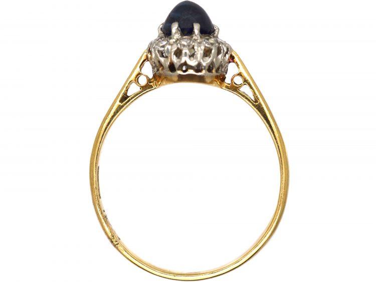 Art Deco 18ct Gold, Cabochon Sapphire & Diamond Cluster Ring