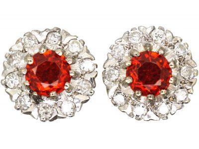 18ct Gold, Fire Opal & Diamond Cluster Earrings