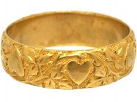 Victorian 18ct Gold Wedding Ring with Hearts Motif