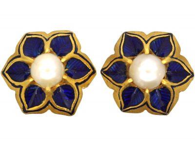 Victorian 18ct Gold, Royal Blue Enamel & Natural Pearl Stud Earrings