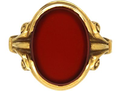 18ct Gold Signet Ring set with a Carnelian