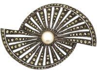 Art Deco Silver, Marcasite & Cultured Pearl Fan Brooch