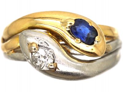 Art Deco 18ct Gold and Platinum Double Snake Ring set with a Sapphire and Diamond