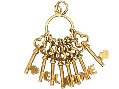 9ct Gold Keys Pendant Spelling Elaine
