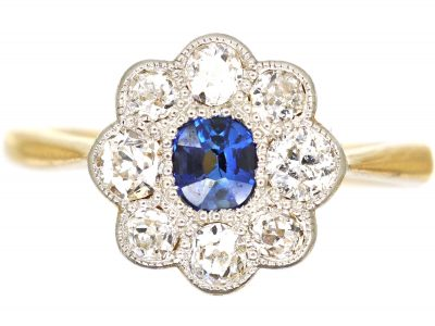 Edwardian 18ct Gold and Platinum, Diamond and Sapphire Cluster Ring