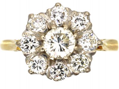 18ct Gold and Diamond Daisy Cluster Ring