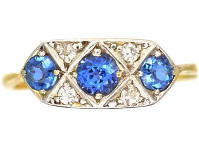 Art Deco 18ct Gold and Platinum, Sapphire and Diamond Plaque Ring