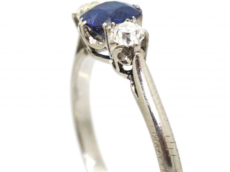 Art Deco Platinum, Sapphire and Diamond Three Stone Ring