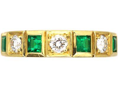 18ct Gold, Emerald & Diamond Seven Stone Ring