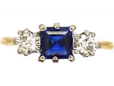 Art Deco 18ct Gold, Square Cut Sapphire & Diamond Three Stone Ring