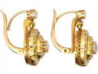 Victorian Rose Diamond Circular Drop Earrings