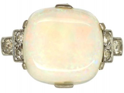 Art Deco 18ct White Gold & Platinum, Cabochon Opal and Diamond Ring