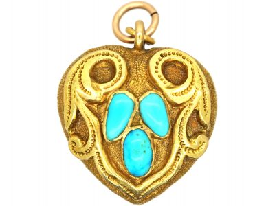 Regency 18ct Gold Heart Shaped Pendant set with Turquoise with Glazed Locket on the Reverse