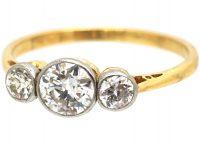 Edwardian 18ct Gold and Platinum Diamond Three Stone Ring