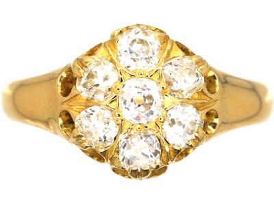 Victorian 18ct Gold and Diamond Cluster Ring