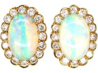 14ct Gold, Large Opal & Diamond Oval Cluster Earrings
