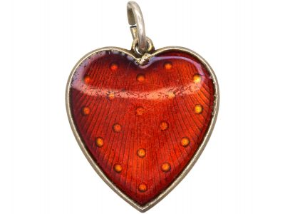 Silver Strawberry Red Enamel Heart by Ivar T Holth