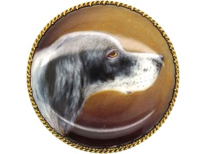 Victorian 15ct Gold & Enamel Brooch of a Spaniel signed by W.B Ford in 1884