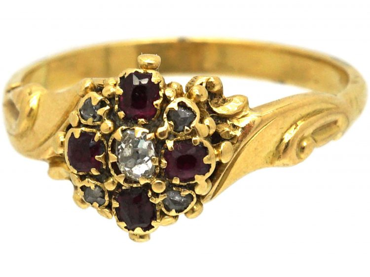 Regency 18ct Gold, Ruby & Diamond Cluster Ring with Leaf Shoulders