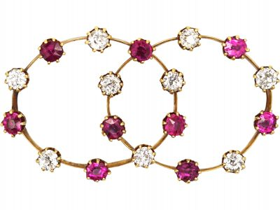 Edwardian 15ct Gold, Ruby and Diamond Double Hoop Brooch