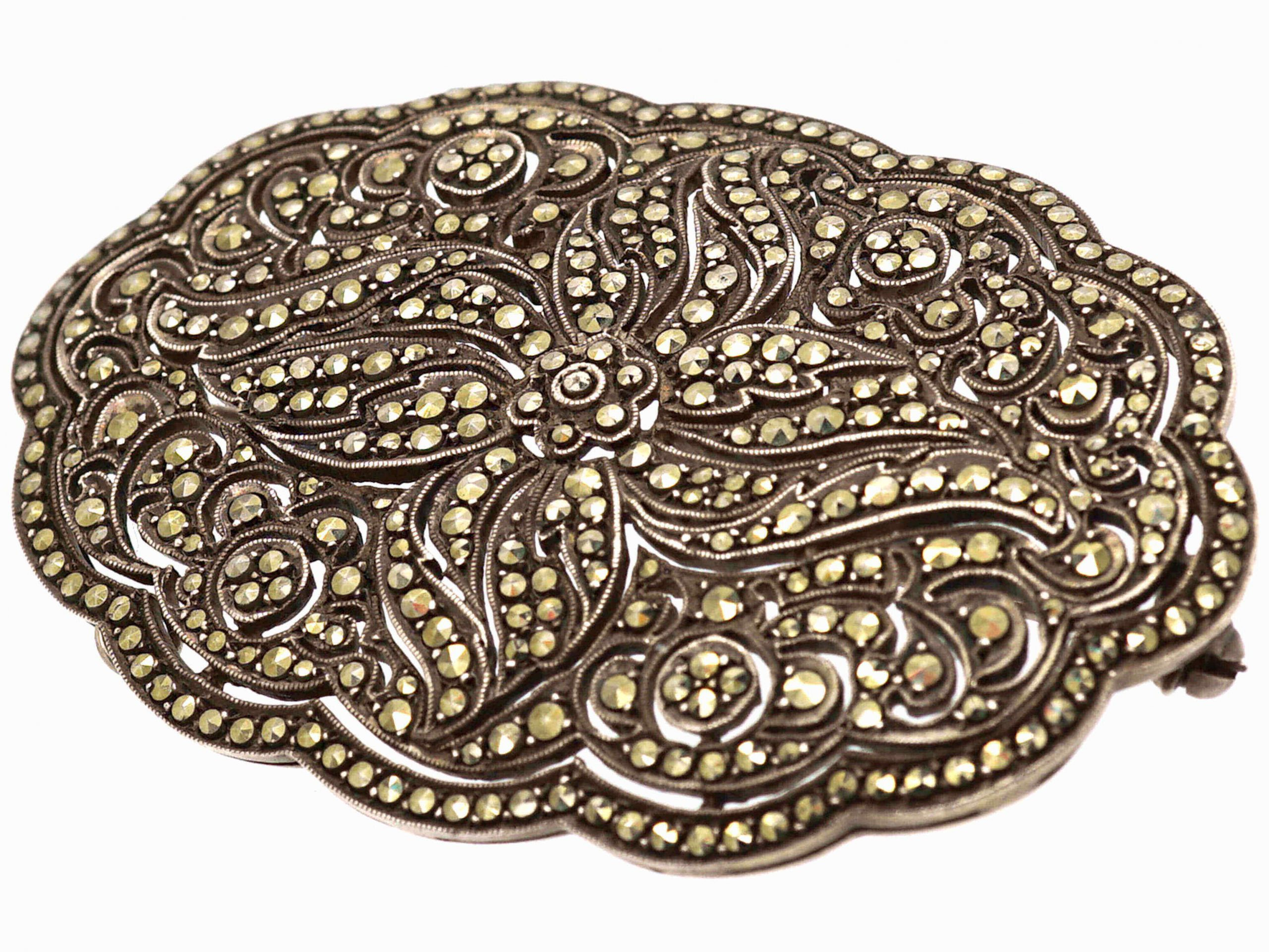 Art Deco Silver & Marcasite Oval Shaped Brooch