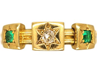Victorian 18ct Gold Emerald and Diamond Ring with Square Mounts