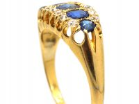 Edwardian 18ct Gold Sapphire & Diamond Boat Shaped Ring