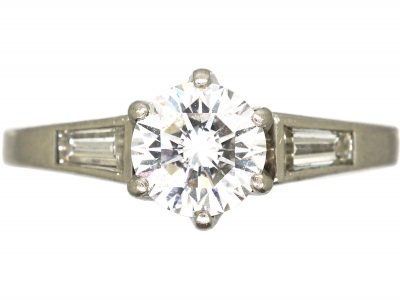 Diamond Solitaire Ring with Tapered Baguette Shoulders
