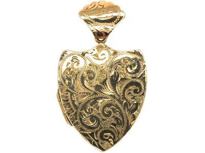 Edwardian 9ct Gold Shield Shaped Locket
