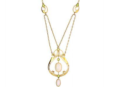 Art Nouveau 15ct Gold, Opal & Peridot Necklace