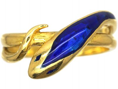 1970s 18ct Gold & Blue Enamel Snake Ring
