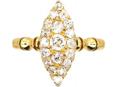 Victorian 18ct Gold Marquise Ring set with Diamonds