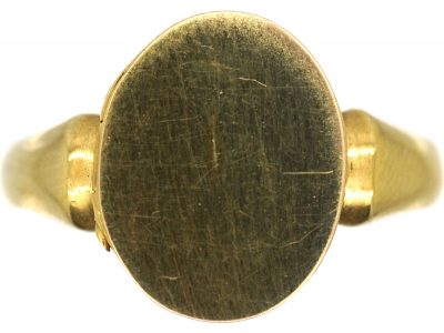 Edwardian 9ct Gold Signet Ring with Hinged Hidden Locket