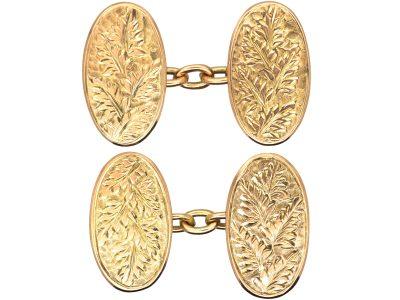 Edwardian 9ct Gold Cufflinks with Engraved Fern Leaf Detail