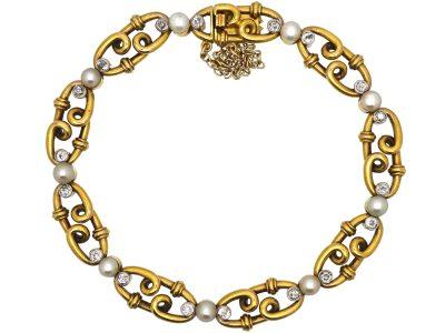 Edwardian 18ct Gold & Platinum, Natural Pearls & Diamond Bracelet