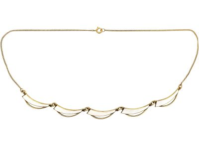 Mid 20th Century Silver & White Enamel Sail Necklace by Aksel Holmsen