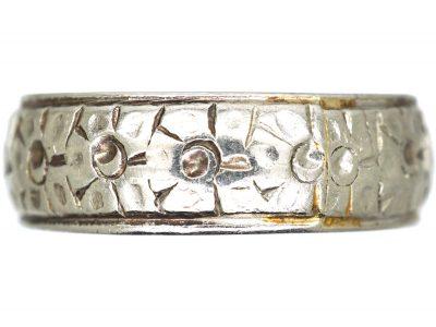 Art Deco Wide Platinum Wedding Ring with Flower Detail