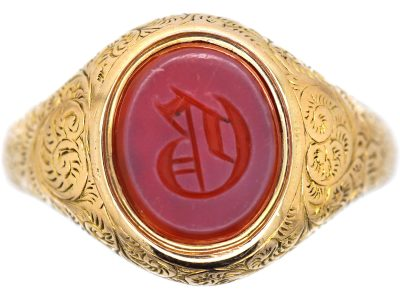 Victorian 15ct Gold & Carnelian Signet Ring with Initial D