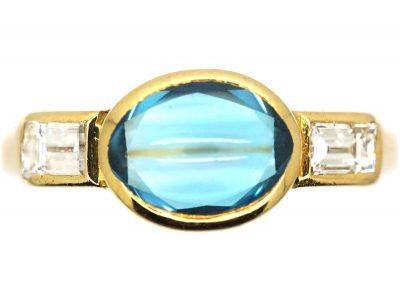 18ct Gold, Cabochon Aquamarine & Baguette Diamond Ring
