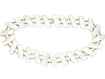Mid 20th Century Silver & White Enamel Slanting Collar by JB Balruud