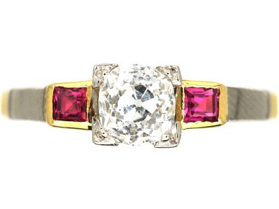 Art Deco 18ct Gold & Platinum, Diamond Solitaire Ring with a Square Cut Ruby on Either Side