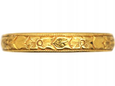 Edwardian 22ct Gold Wedding Ring with Flower Detail