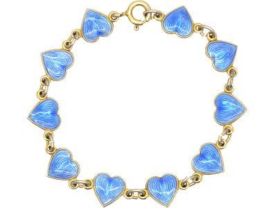 Mid 20th Century Norwegian Silver & Blue Enamel Hearts Bracelet