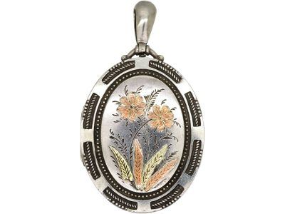 Victorian Silver & Two Colour Gold Overlay Locket with Flower Motif